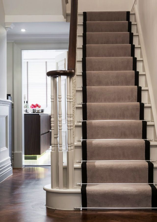Stair runner with border color and silver rods from www.houzz.com