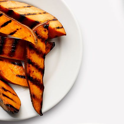 Still got your grill out? Throw these Grilled Sweet Potato Fries on there -- precook in the microwave, grill 3 minutes per side, and they're done.