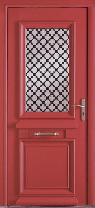 Porte d'entrée mixte alu / bois classique mi vitrée. Belm.fr
