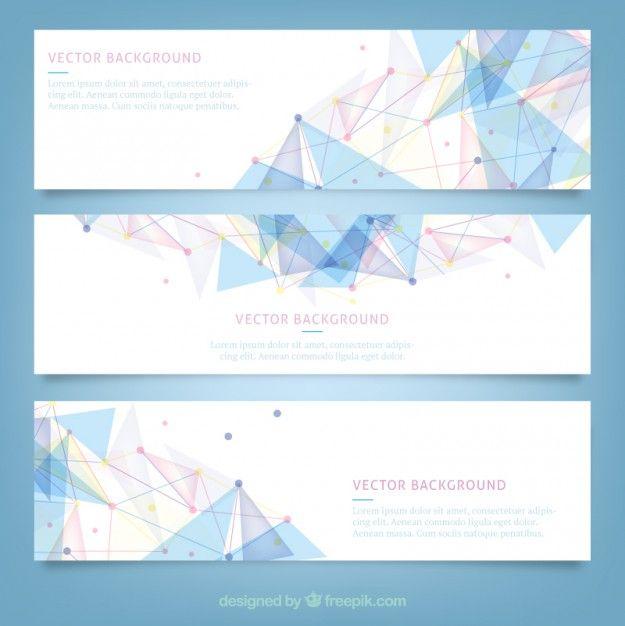 Banners com design poligonal Vetor grátis