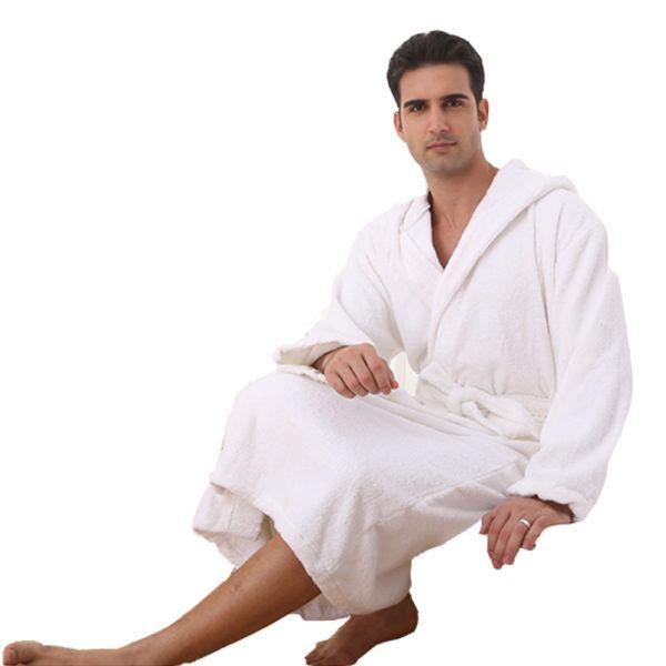 52,90€  Peignoir homme capuche blanc céruse