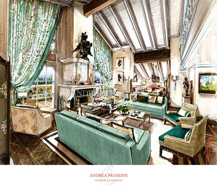 interior illustration and visualization, watercolor illustration, handmade rendering - modern - Andrea Prandini