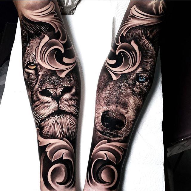 Lion And Wolf Tattoo Cool Tattoos Wolf Tattoo Tattoos