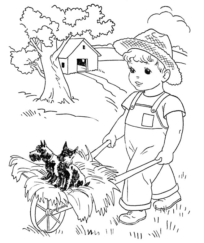 a boy and his dog coloring pages - photo #22