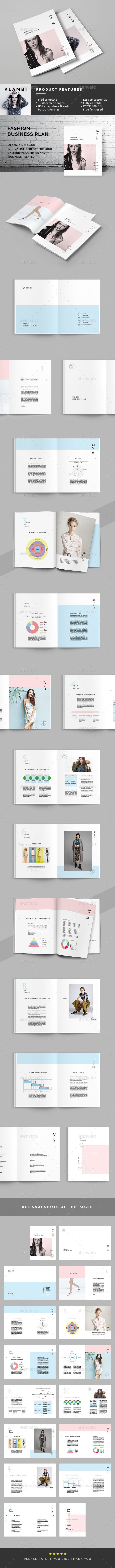Fashion Business Plan by BOXKAYU The Business Plan is a simple Indesign brochure template available in A4 and US letter sizes. Each page features unique layouts wi