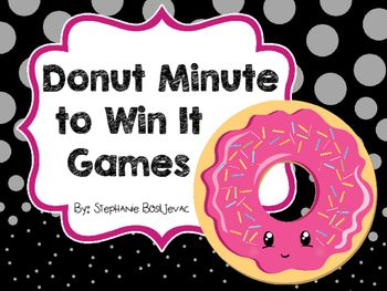 This packet includes 5 Minute to Win It Games all with a donut theme.  It is perfect for a fun day, the beginning of the year, or the end of the year.  I have listed additional supplies you will need for each game below! Donut Dunk:  You will need donuts ( You could use real or toy donuts.