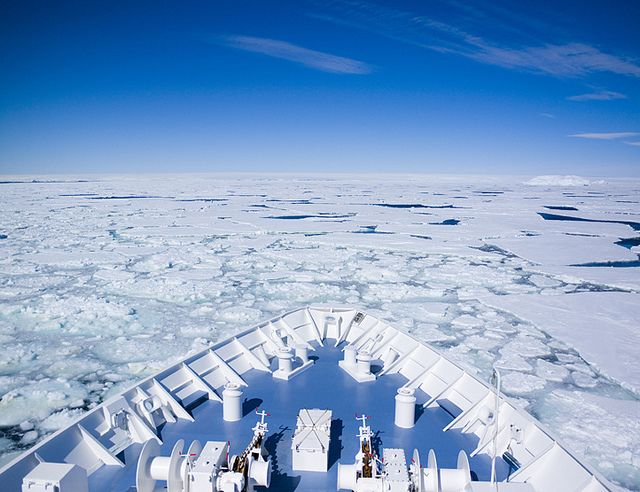 Orion Expedition Cruises breaking ice in Antarctica