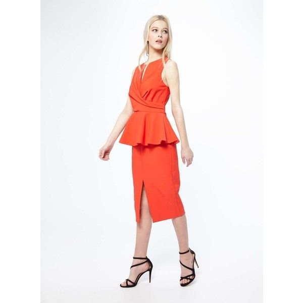 Miss Selfridge Peplum Midi Dress (130 SAR) ❤ liked on Polyvore featuring dresses, red, sleeveless peplum dress, peplum midi dress, midi dress, red sleeveless dress and red peplum dress