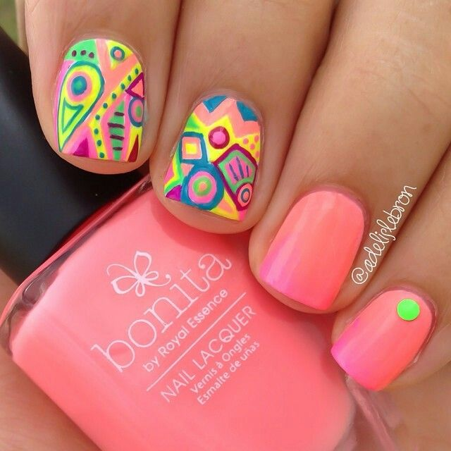 Neon Coral Gradient Nails With Abstract Nail Art.