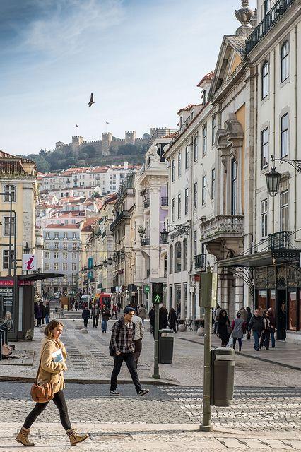 Lisbon - Baixa, Rua de Santa Justa - The Castelo de Sao Jorge
