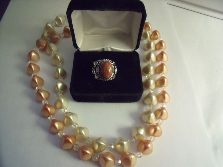 Pearl Necklace Peaches & Cream Color with Goldstone Ring Size 7 S.S. Overlay .92 | eBay