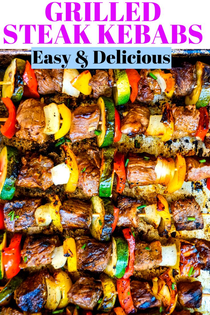 Steak Kebabs are the perfect summer grilling recipe. These kebabs are made with tender marinated pieces of beef, delicio…