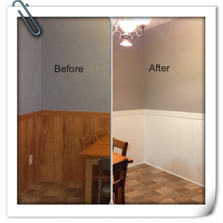 Before and after with painted oak paneling.  Walls went from whale blue to functional gray.  Paneling is west highland white.