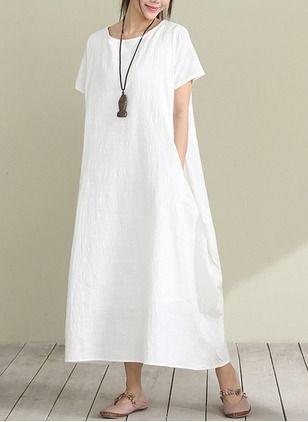 Algodão Reto Manga curta Longo Informal Vestidos de (1039744) @ floryday.com