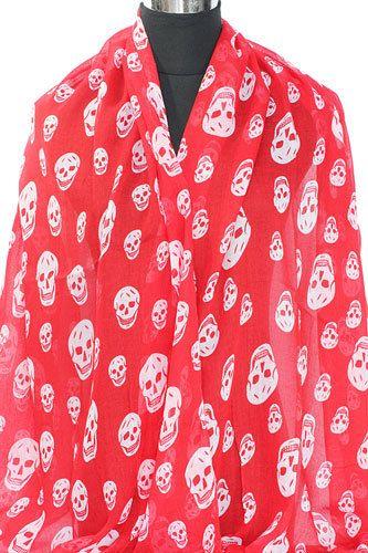 Rode sjaal met witte schedels