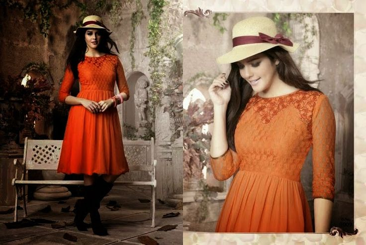 Superb Designer Ready to Wear Georgette Kurti with linning  in Orange color with beautiful Thread Embroidery .  Available in S,M,L, XL size.