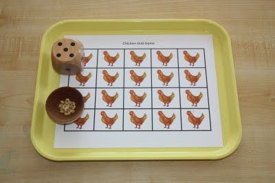 Roll the dice, feed the chickens! Excellent counting game.