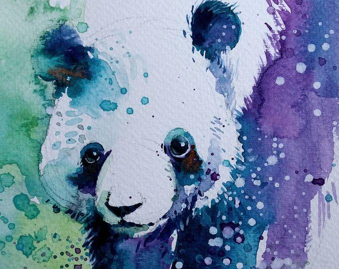 Panda • waterverf met gouache 13.3 x 20 cm • origineel schilderij