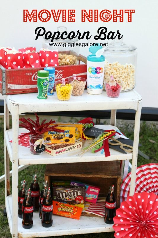Backyard Movie Night Ideas 4 steps to hosting an outdoor movie night by nibblesandfeastscom via forkfulblog Popcorn Bar And Outdoor Movie Night