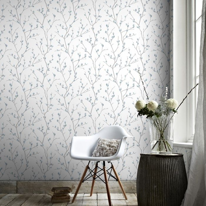 Karma White / Teal Wallpaper by Graham and Brown