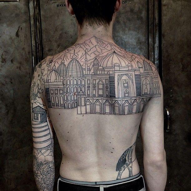 Incredible line-art tattoo