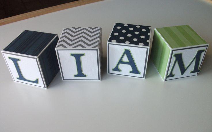 Wooden Name Blocks - Navy Gray Lime Green. $4.50, via Etsy. Newborn pictures. Maternity photo. Photo prop. Nursery decor