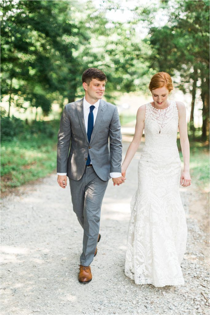 Love The Groom S Grey Suit Navy Tie Combo And Bride Beautiful Wedding Dress Adalynn Gown By Bhldn