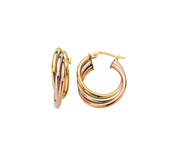 9ct Three Tone Gold Russian Hoop Earrings 1.5/15mm, Earrings, SJ0595