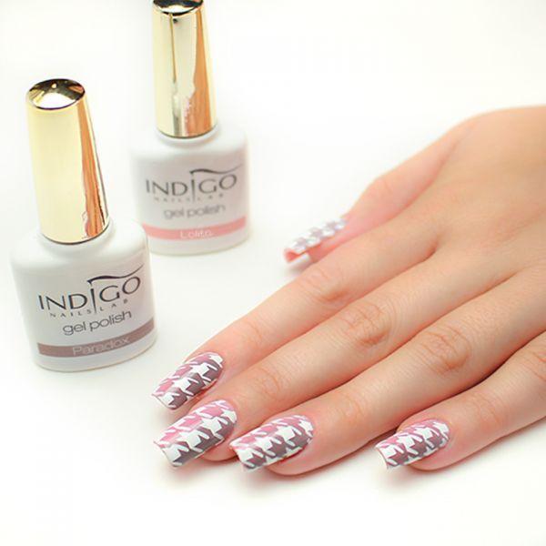 Paradox & Lolita Gel Polish w klasycznej stylizacji od Pauliny Walaszczyk Indigo Educator Łódź! Obserwuj nas na Pintereście już dziś! www.indigo-nails.com #white #gelpolish #gelnails #pink #pastel #dusty #polish #indigo #white #houndstooth