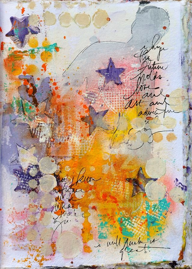I am inspired by free-form jounalling, some words, some images, colors that fade in and out . . . like this piece!