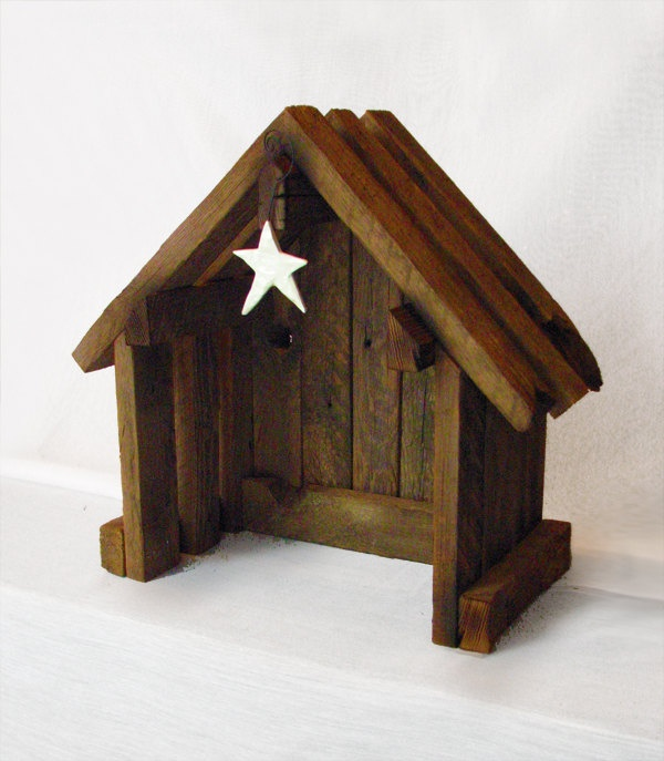 $65 -- Nativity Creche Stable Reclaimed Barnwood