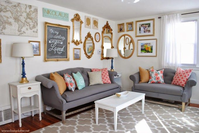 Gallery Walls Pops Of Color Yes Please Living Room Via