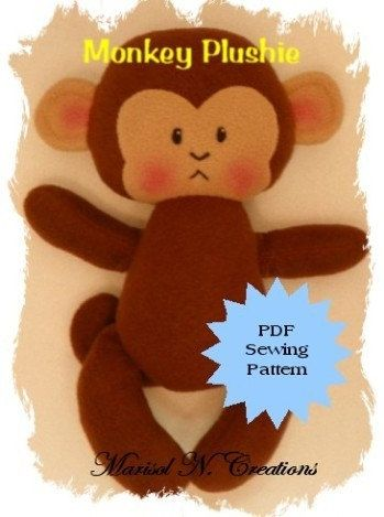 Monkey Plushie PDF Sewing Pattern   Softie by MarisolNCreations, $5.00