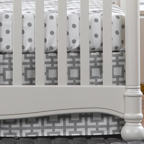Gigi Gray and White Crib Skirt | Gender Neutral Baby Bedding | Liz and Roo Fine Baby Bedding