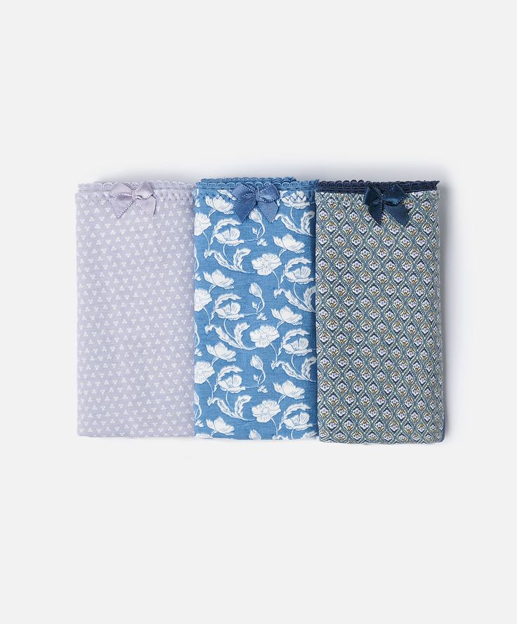 3-pack of floral and striped Brazilian briefs - OYSHO