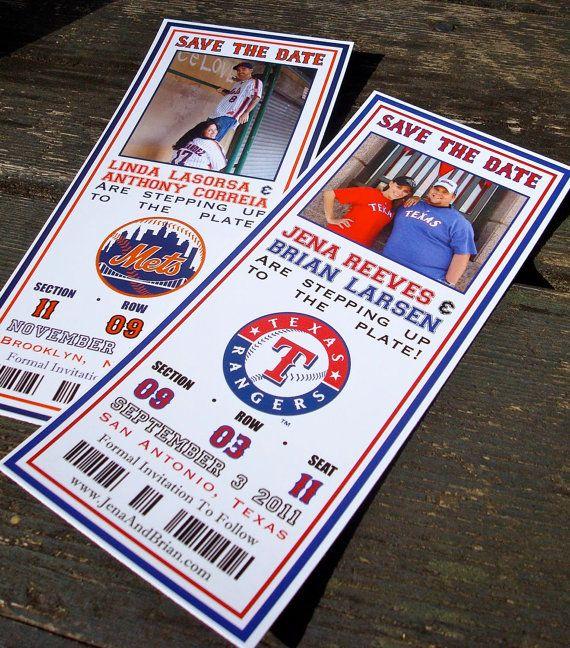 Baseball Ticket Save The Dates with Photo (Deposit) - FREE SHIPPING