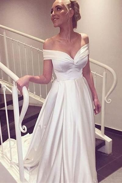 Sweetheart Off The Shoulder White Long Wedding Dress With Train-Pgmdress