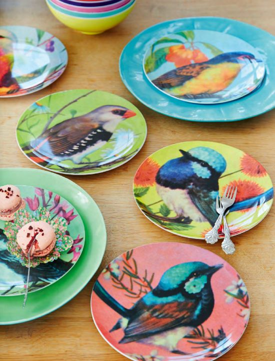 Spice up your Life with RICE {dishes}! :) Would love to get these for Andrea! http://www.rice.dk/en/Products/Tableware/Melamine%20Side%20Plate%20in%206%20Assorted%20Bird%20Prints_MESPL-BIRXC