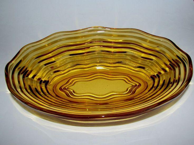 Vintage Crown Crystal Australia Amber Depression Glass  Waverly  Bowl Dish