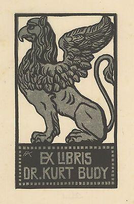 Griffon Exlibris Adolf Kunst / Dr. Kurt Budy Linol/fb. opus 33