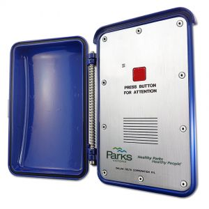 Parks victoria emergency telephone with a weatherproof enclosure and weather tough enclosure. This vandal resistant telephone is install in remote locations.