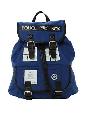 It's bigger on the inside. But get this <I>Doctor Who</I> slouch backpack and find out for yourself! It's a blue backpack  and slouchy  and has a classic Doctor Who TARDIS design. Oh, it also has a snap button and drawstring closure  so you can make sure your bow ties, fezzes, scarves  and all that other stuff you Whovians tote around  stay secure. (Sorry, time travel capabilities not included with TARDIS backpack purchase.)