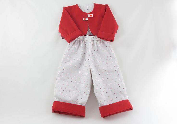 Veste rouge et son pantalon assorti : Mode Bébé par timounalily