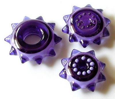 Pretty Purple Lampwork Beads! | Violetta Spiky Sprockets in soda lime glass by Sarah Moran | » StrandsofBeads.blogspot.com
