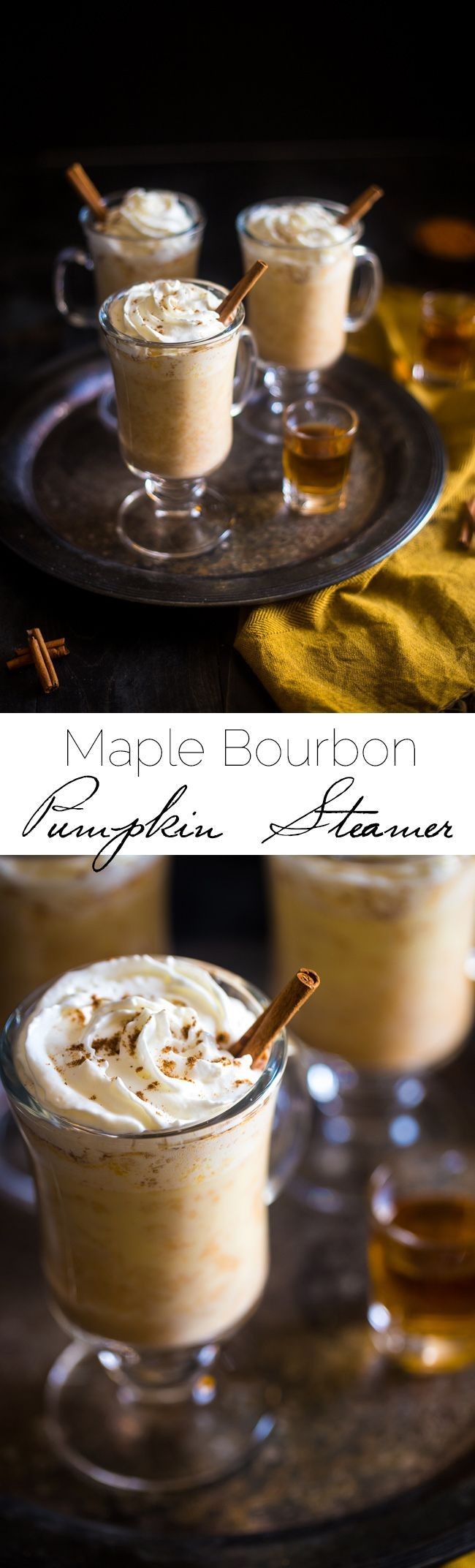 Maple Pumpkin Steamed Almond Milk with Bourbon - Mixed with pumpkin puree, naturally sweetened with maple syrup and finished with bourbon. It's an easy, cozy drink for the fall! | Taylor Kiser: