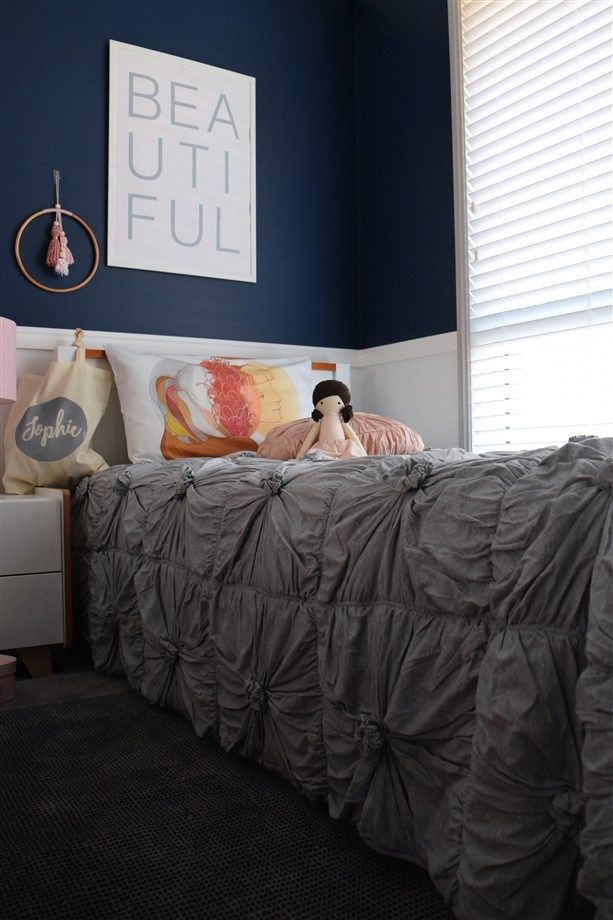 navy and blush girls room the styling mama