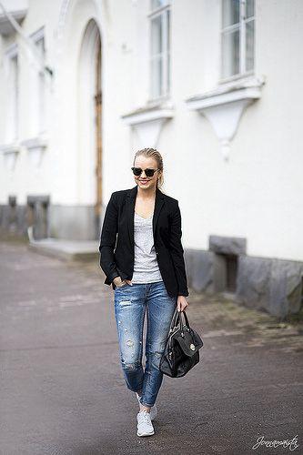 Grey Roshe Runs with Boyfriend Jeans and Blazer