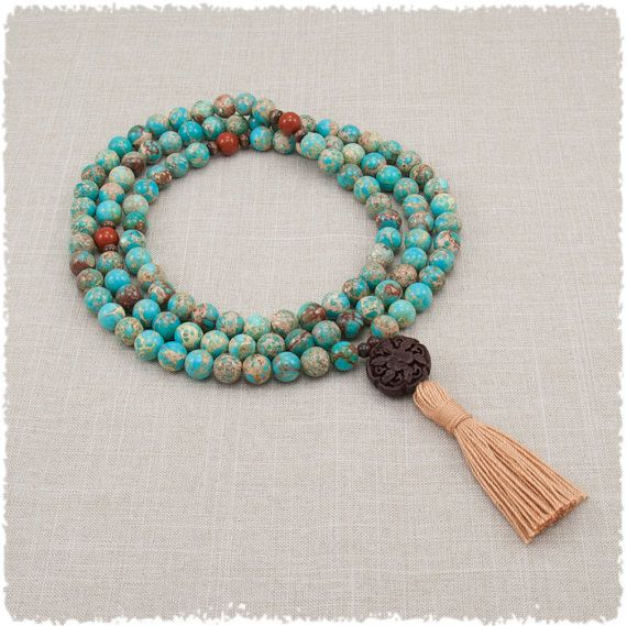 Mala Bead Necklace - Meditation Beads in Turquoise Magnesite and Red Jasper - Positive Attitude - Unconditional Love - Grounding