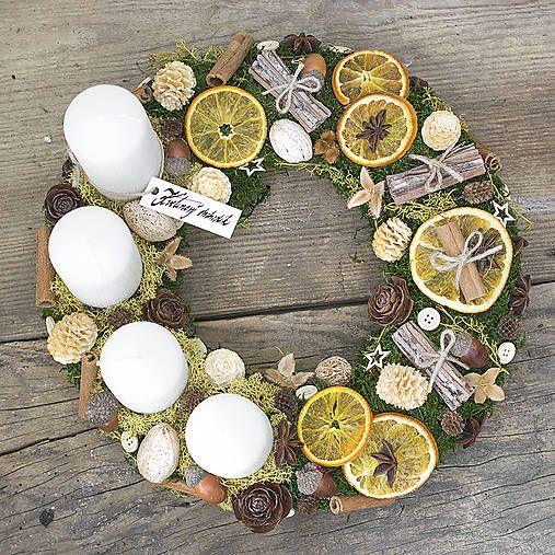 KvetinovyObchodik / Adventný veniec s bielymi sviečkami