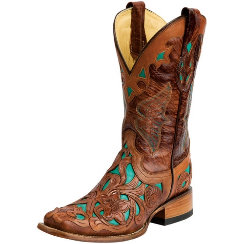 Corral Ladies Dark Chedron Teal Handtooled Cowgirl Square Toe Boots!!